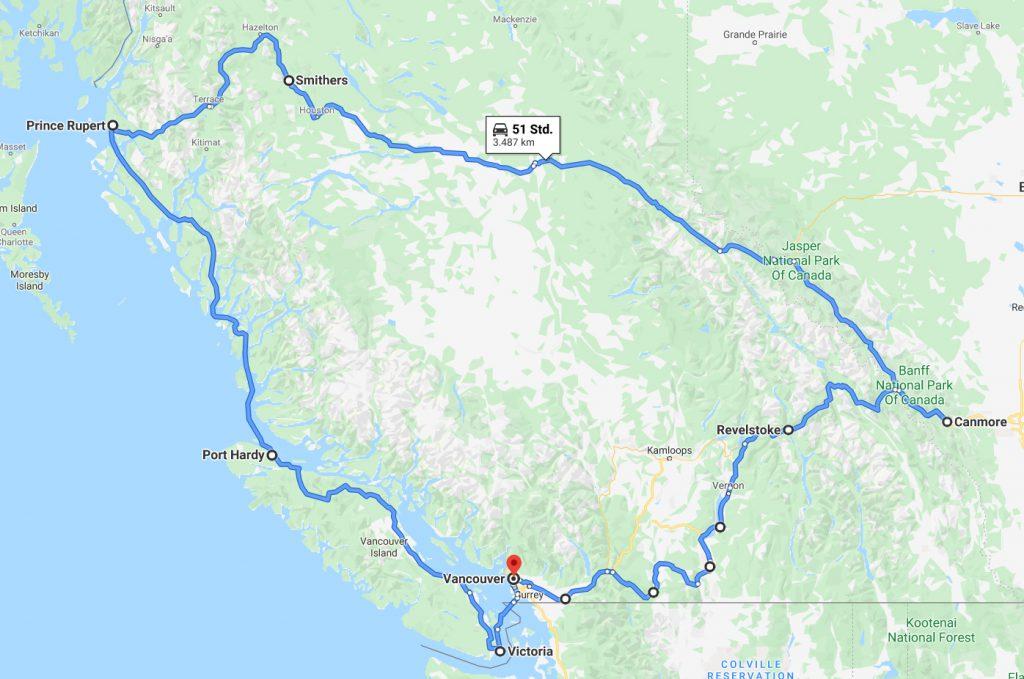 West-Kanada Reiseroute